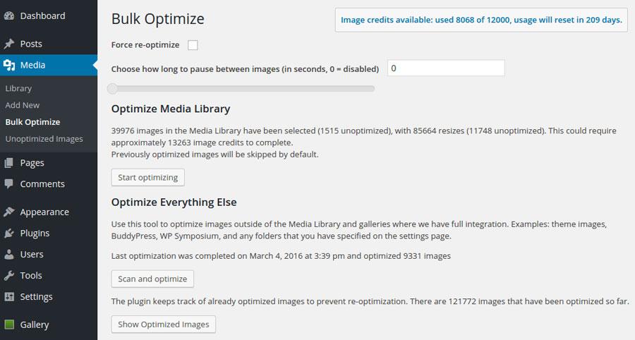 Dasboard Screenshot EWWW Image Optimizer
