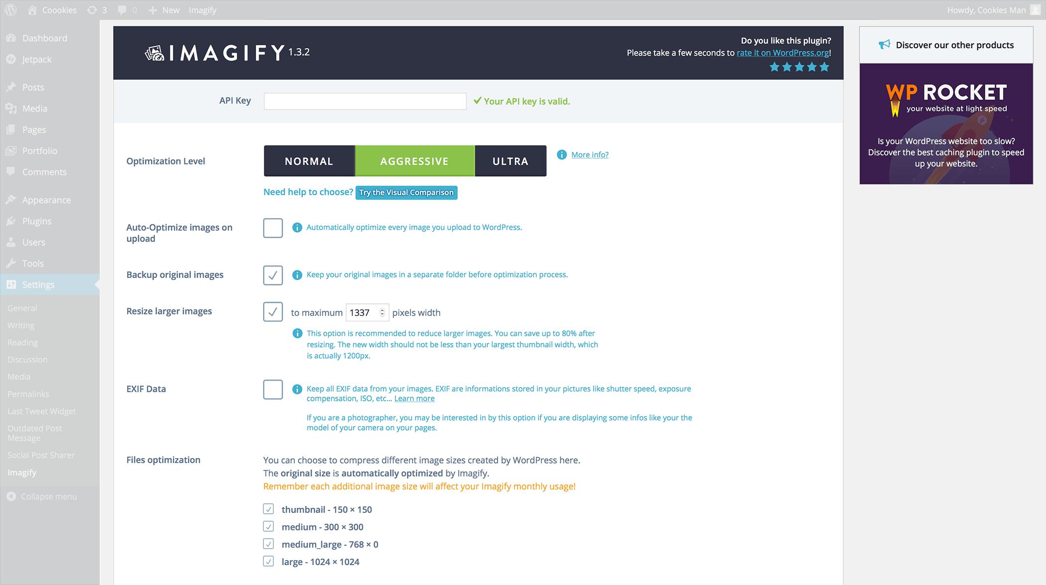 Imagify Settings WordPress Pluing