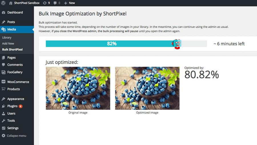 Shortpixel Bulk Optimization Screenshot