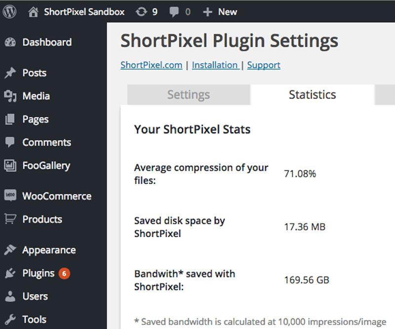 Shortpixel Statistics Screenshot