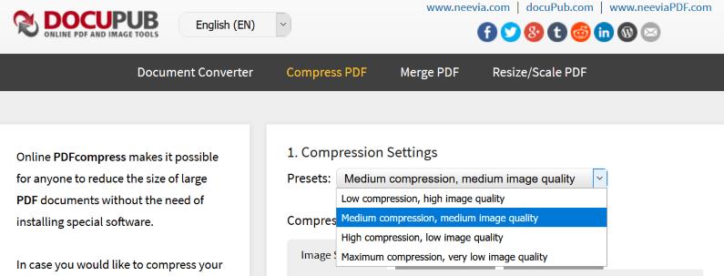 DocuPub, Compress PDF Files Online