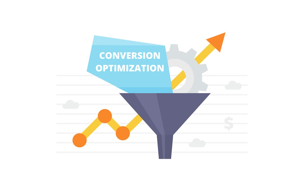 Conversion Optimization. Internet marketing conversion concept with sales funnel and growth chart.