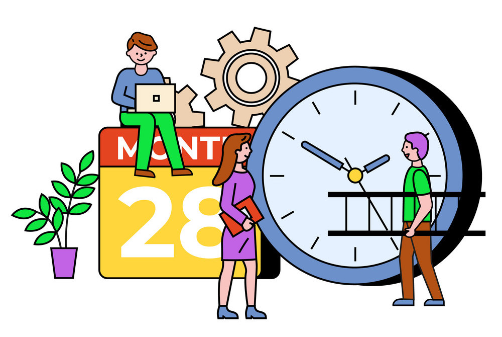 People communication with laptop, clock and calendar objects. Developer working with computer, person carrying stairs. Information technology with setting and time symbol with outline vector