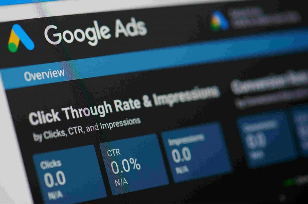 Google ads menu on device screen pixelated close up view