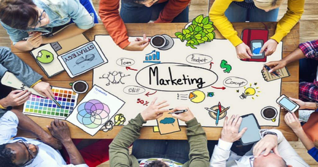 The Concept of Different People Working and Marketing
