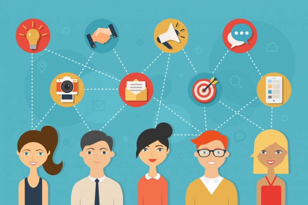Social network and teamwork concept