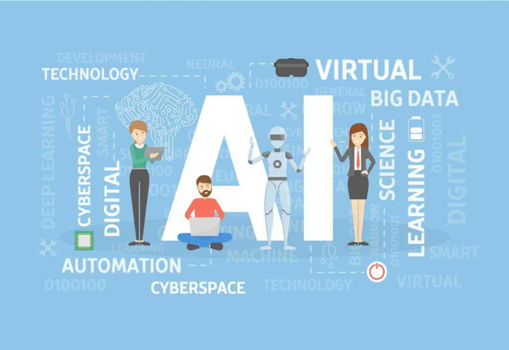 AI concept illustration. Technology idea, big data and vr., automation,cyberspace