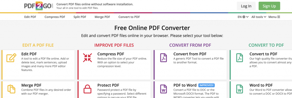 pdf2go example, Compress PDF Files Online