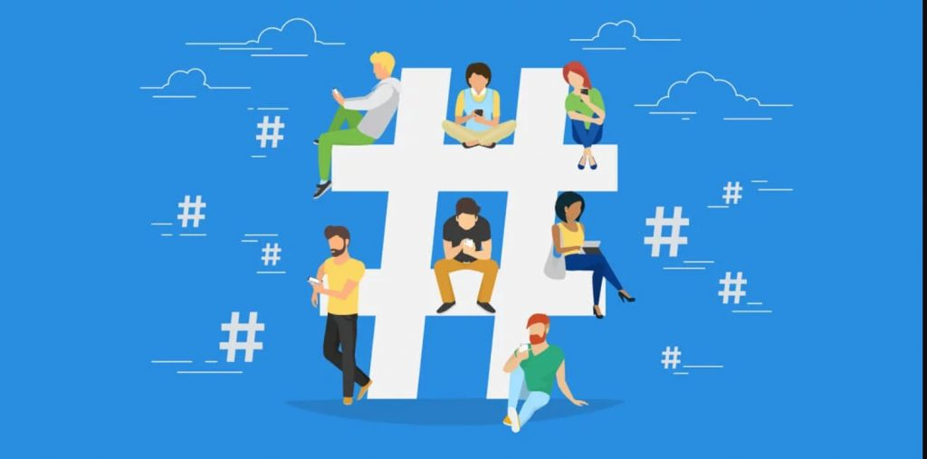 Hashtag concept illustration of young people using mobile tablet and smartphone to send messages and share them on social media.