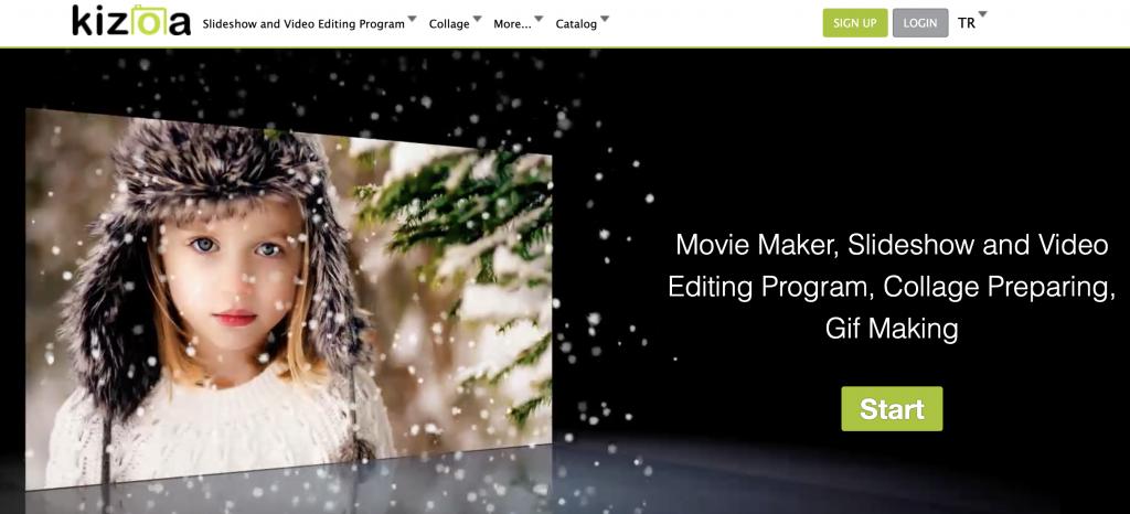 Kizoa movie maker home page