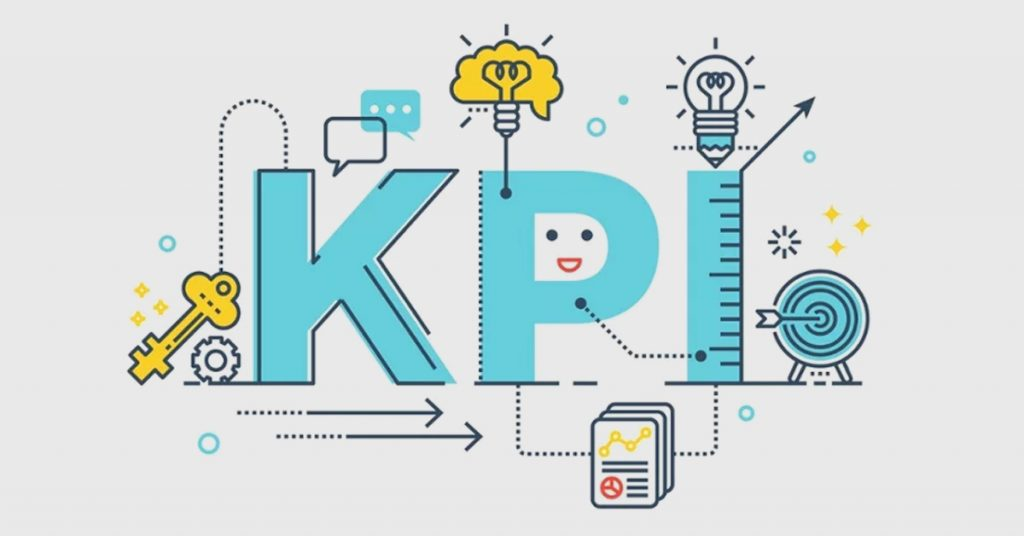 KPI: Key performance indicator word font with blue theme line icons and ornaments