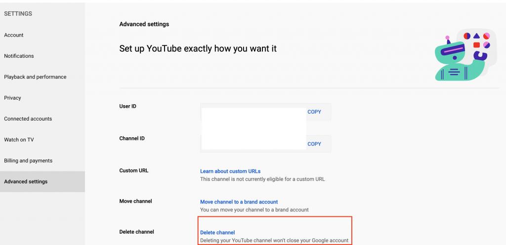 Youtube a delete channel