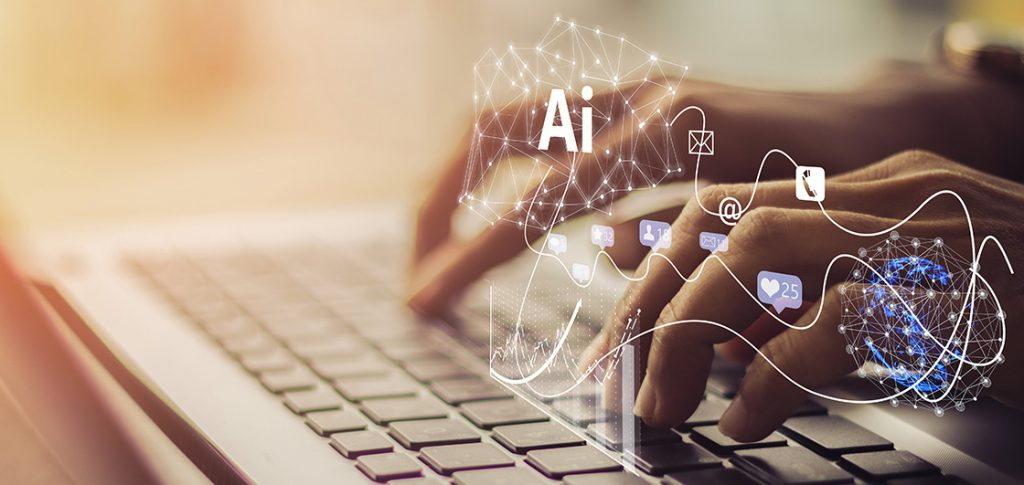 Artificial Intelligence AI, Internet of Things IoT, digital marketing concept. Businessman using laptop on technology background, 4.0 industrial technology development,