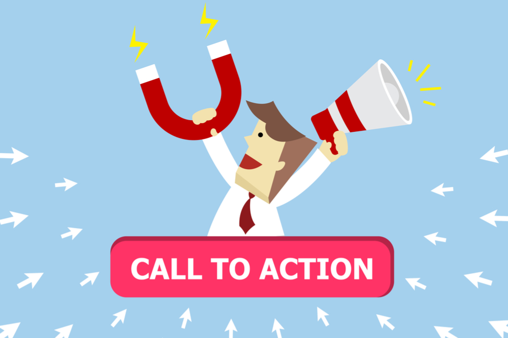 Young business man holding magnet and megaphone in his hand to attract customer click ok sign on button icon.