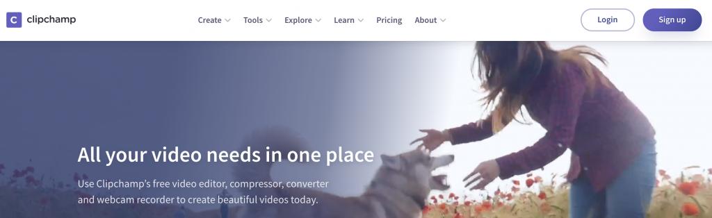 Clipchamp video editors home page