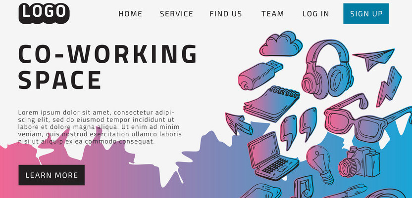 Co Working Coworking Space Desktop Landing Page For Web Website Template Design Example Front End With Hand Drawn Sketchy Line Art Drawings Illustrations Of Essential Related Objects Vector Graphic.
