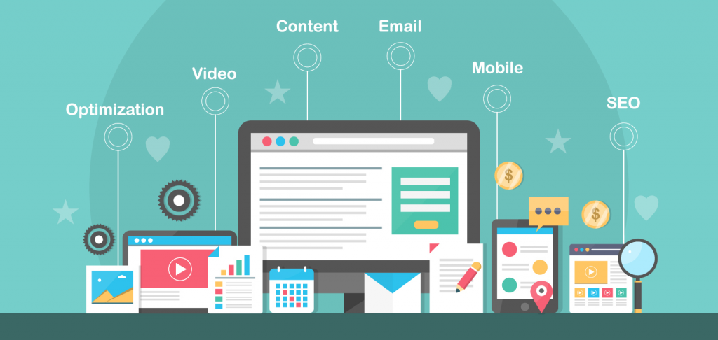 Inbound marketing vector concept, Inbound marketing strategies, SEO, Social media, Content, Video and Email
