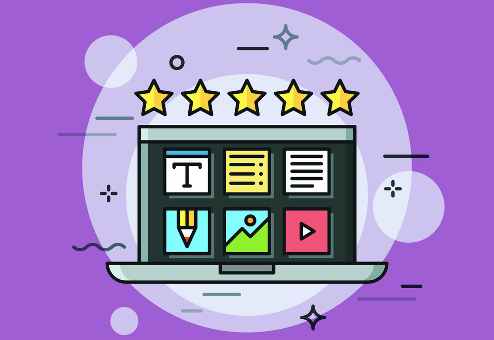 quality content, Laptop with desktop application icons on screen and five golden stars. Concept of high quality content creation, positive review, online rating.