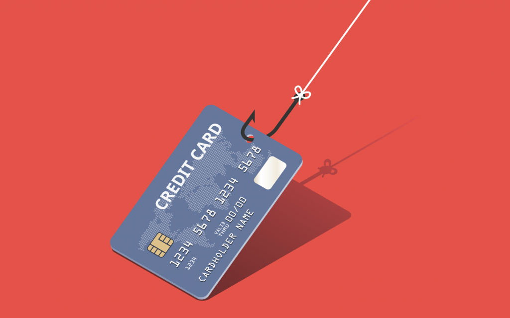 Credit card on fishing rod on the red background. Fraud and phishing concept.