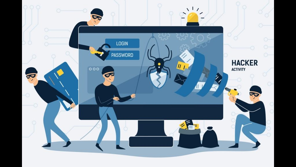Criminals, thieves or crackers are wearing black hats, masks and clothing, stealing personal information from the computer. Computer hacker internet activity or security hacking concept.