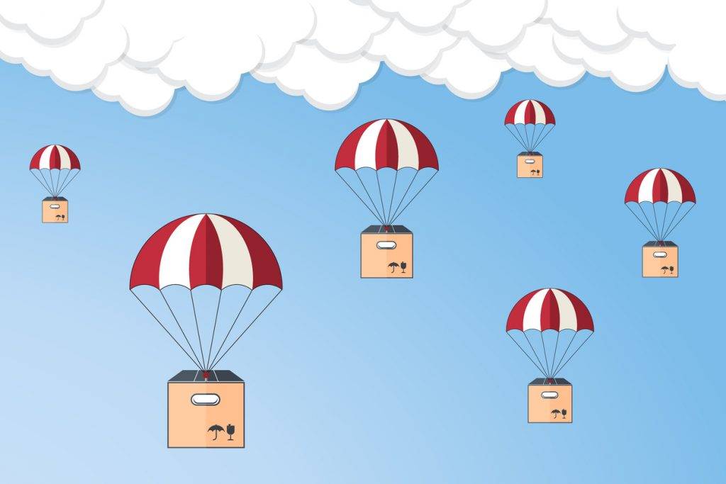 Dropshipping. Package flying on parachute, delivery service concept. Flat design