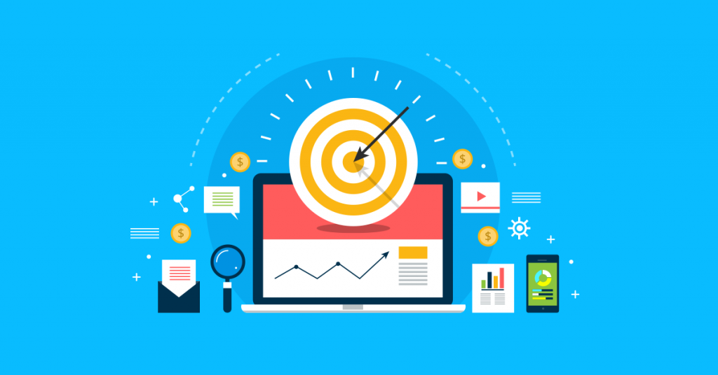 flat design with target audience, digital marketing, marketing icons on blue background