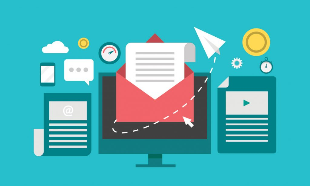 Email marketing campaign, newsletter marketing, drop marketing, email marketing flat banner concept with icons.