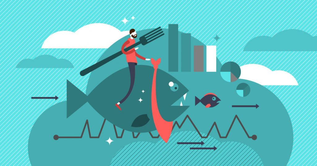 Cannibalization strategy vector illustration. Launch new product that negatively affects older one.