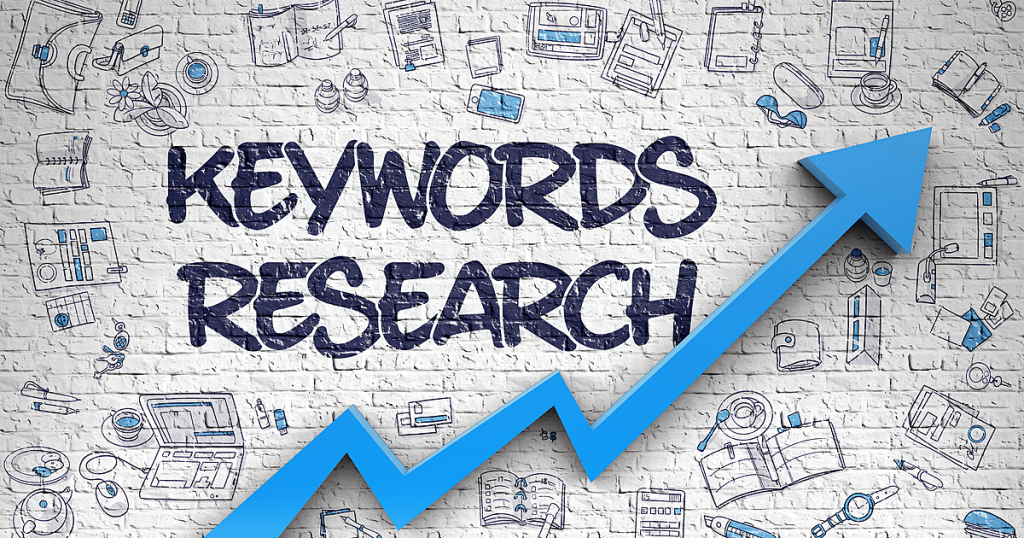 Keywords Research - Modern Style Illustration with Doodle Design Elements.