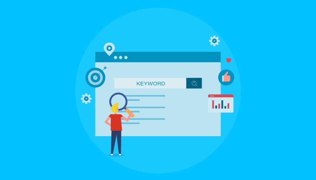 keyword research, Seo keyword, Website, content - flat design vector banner with icons and character isolated on blue background
