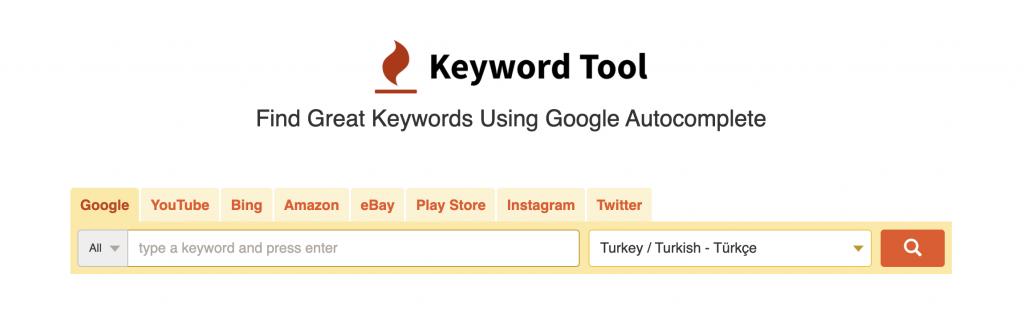 Keywordtool homepage example