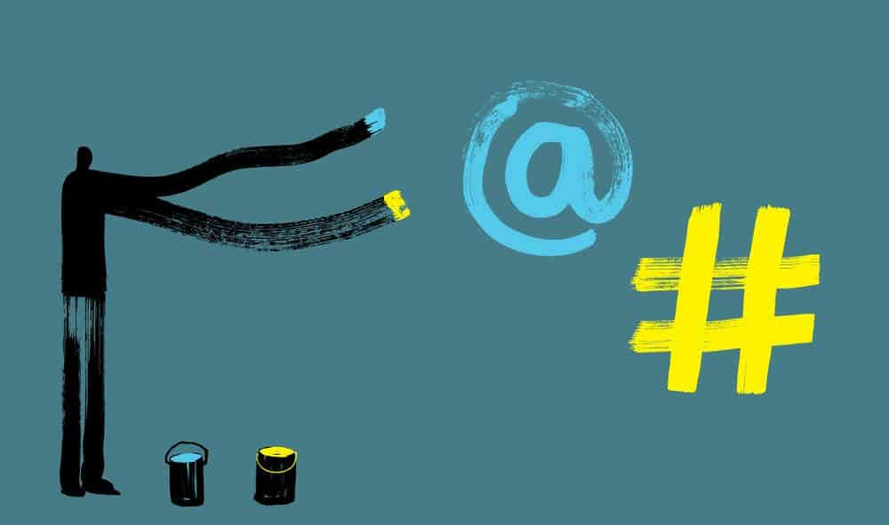 A Man with Long Arms draws Hashtag Symbol & At Sign with Paint, Dark Silhouette, Illustration, Internet Concepts, Social Media, Instagram, Facebook, Twitter, User, Follower, Google, Analytics, Adwords