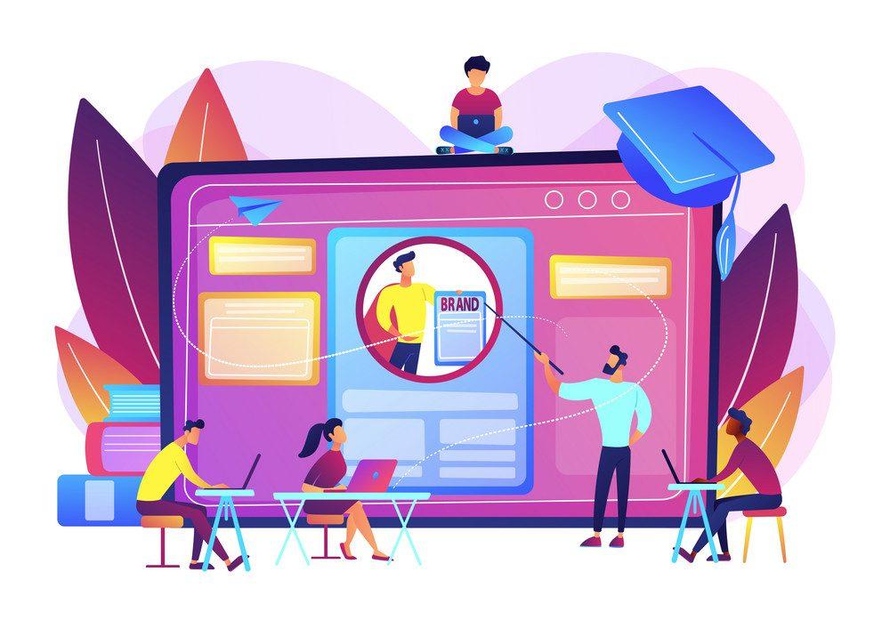 Marketing students create corporate identity. Personal branding course, strategic self-marketing education, personal branding online courses concept.