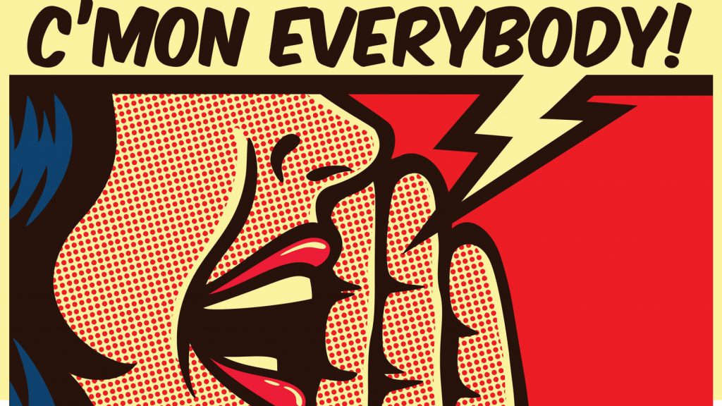 Pop Art style comic panel girl is shouting loud with speech bubble, call to action concept