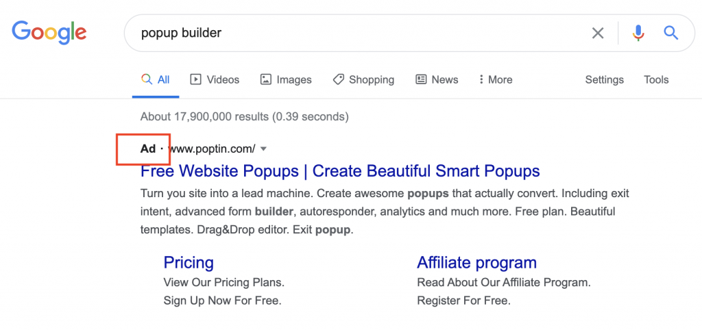 popup builder search
