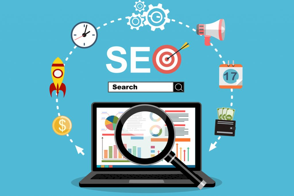 Modern concept SEO. Search engine optimization, Search bots with icons isolated on clear background