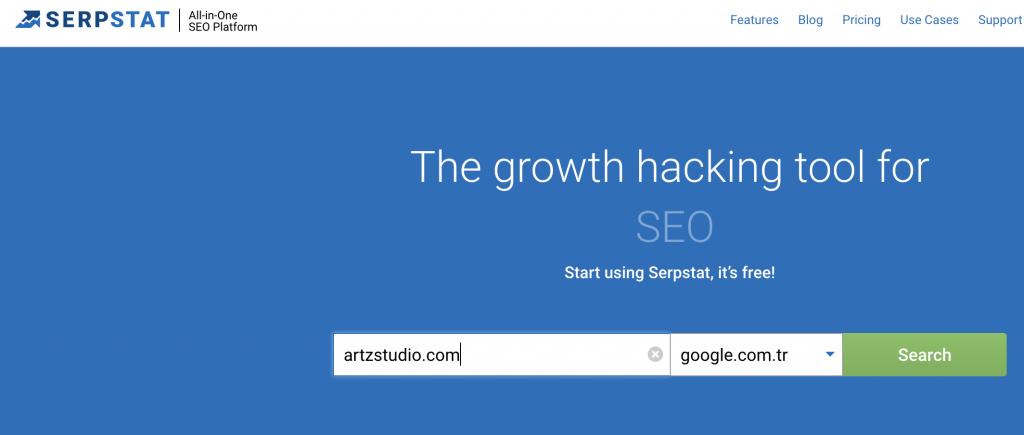 Serpstat homepage seo tools artzstudio.com