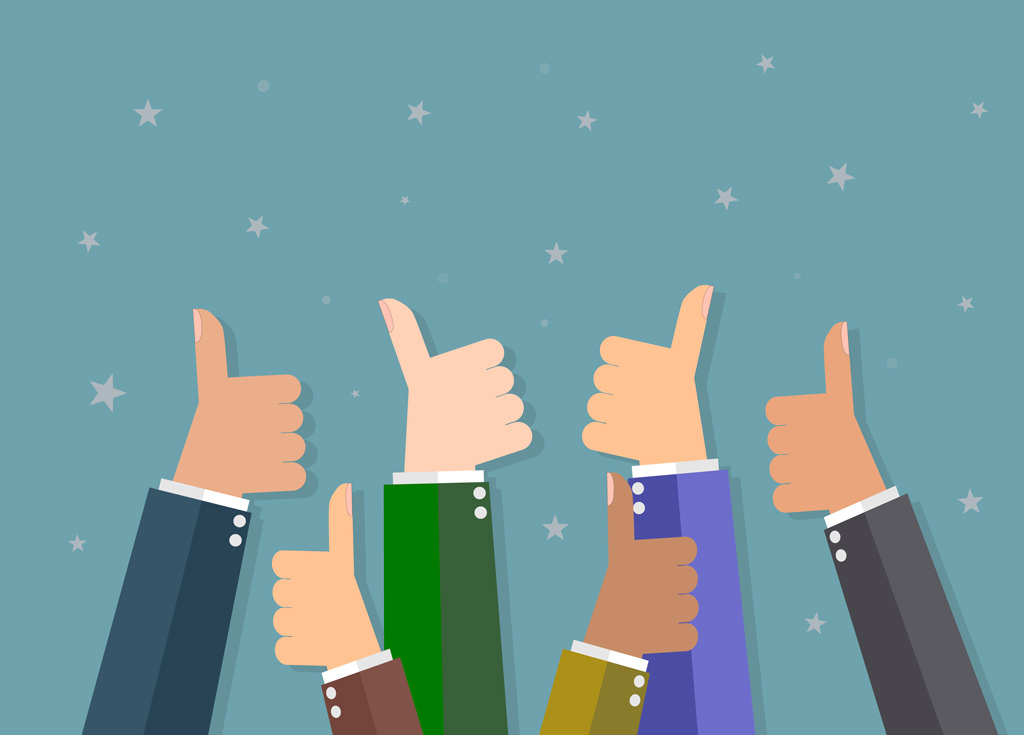 Six cartoon Businessmen hands hold thumbs up. vector illustration in flat design on gray background. Financial, work motivation
