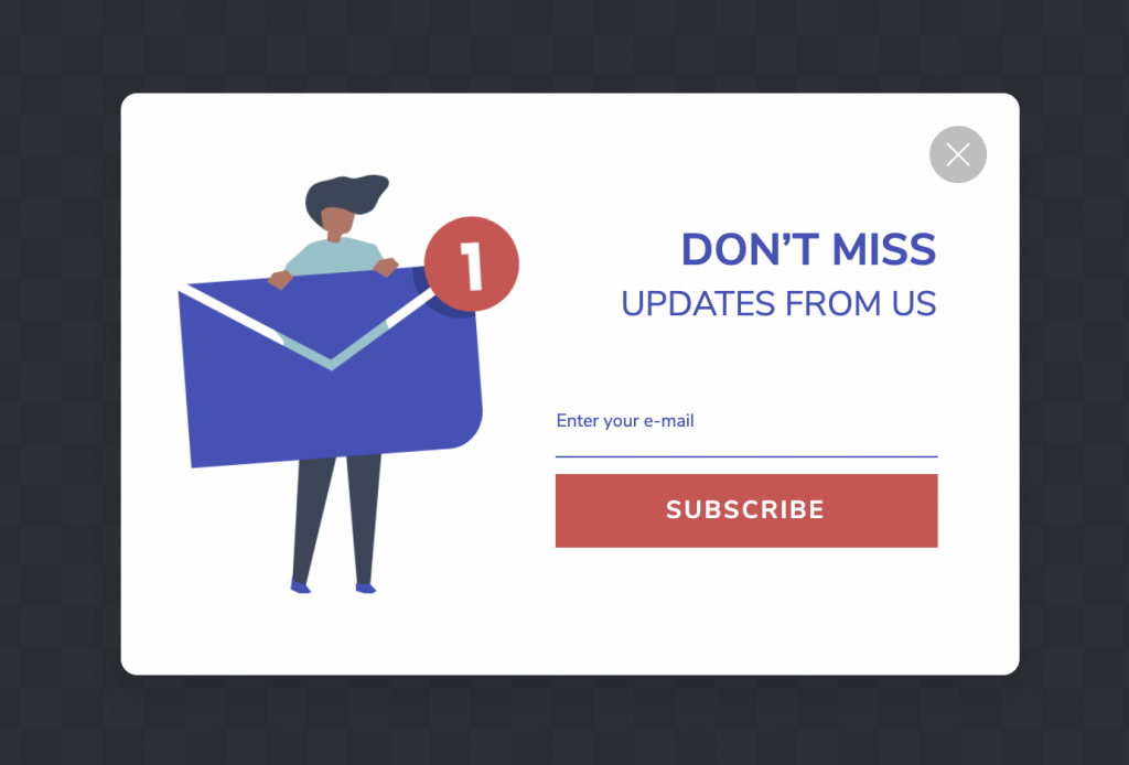 Grow your email list popup