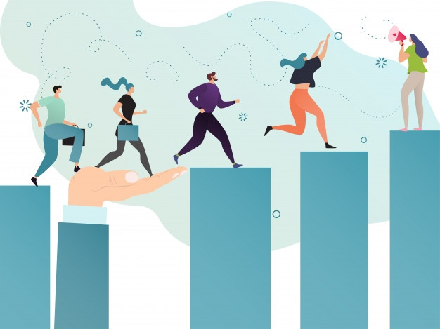 Motivation successful business people, team leader goal concept vector illustration. Entrepreneur career achievement, men women cartoon characters running upwards to achieve graph chart bars report