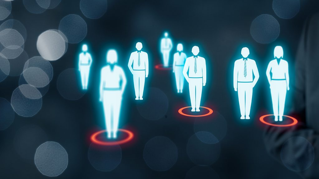 The concept of target audience (marketing). Standing people