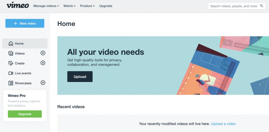 Vimeo video editors home page