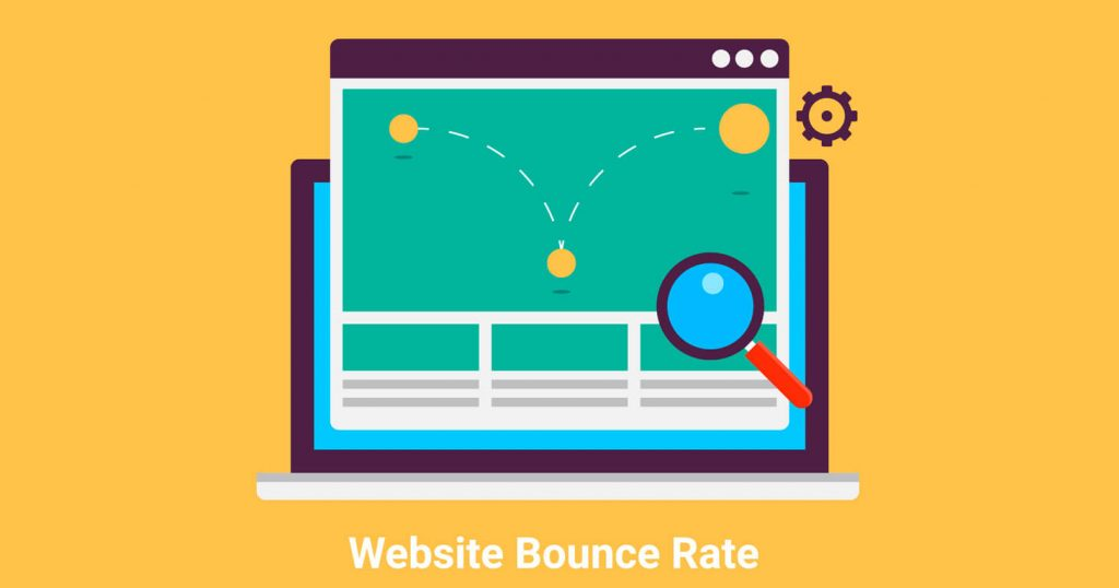 Website bounce rate. exit rate, internet marketing analysis flat vector illustration