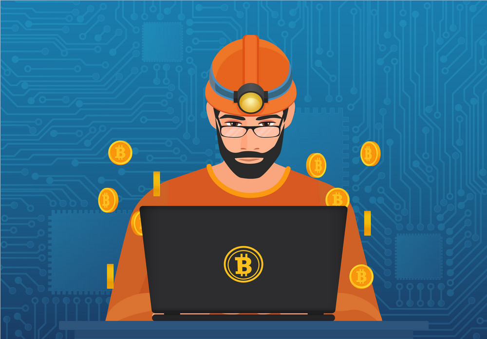 Vector illustration of young man miner in hardhat sitting at laptop and mining bitcoin cryptocurrency.