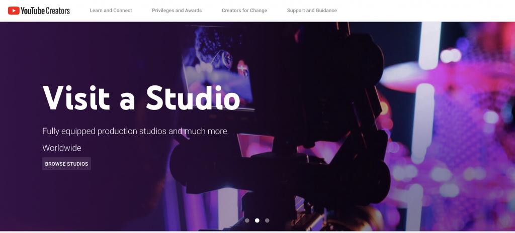 Youtube creator editor homepage