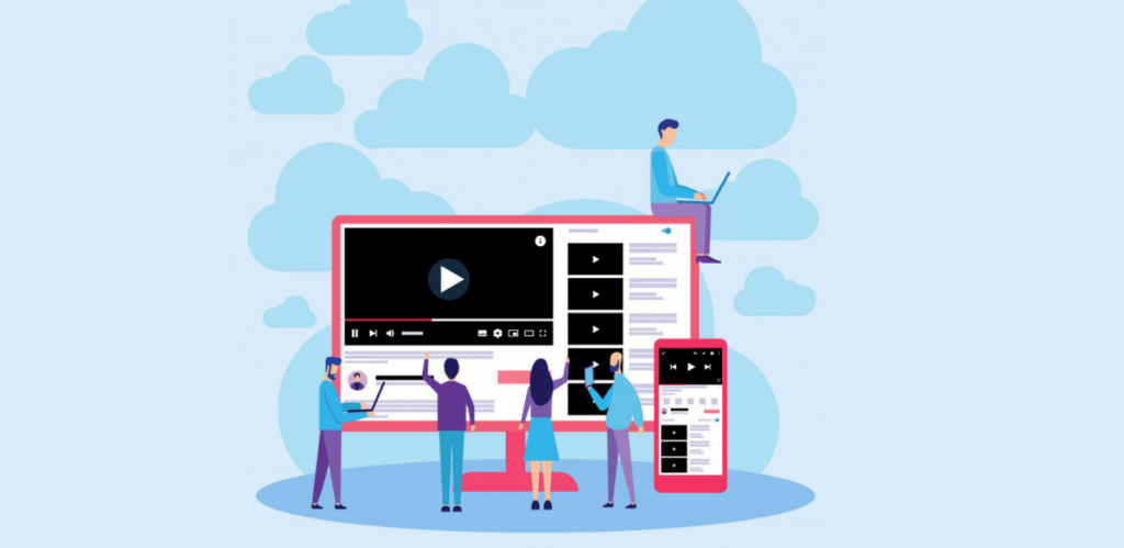 outube Web Responsive Online Video Streaming. Flat Design Can Use For, Landing Page, Mobile App, Poster, Banner, Flyer, Template, UI, Web.