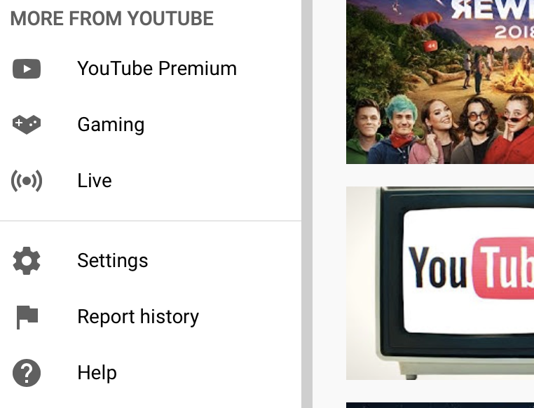 Youtube settings page