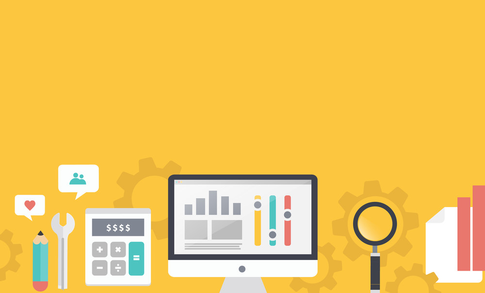 Illustration of seo optimization, analysiselements on stylish colored background with text Read more. For web construction