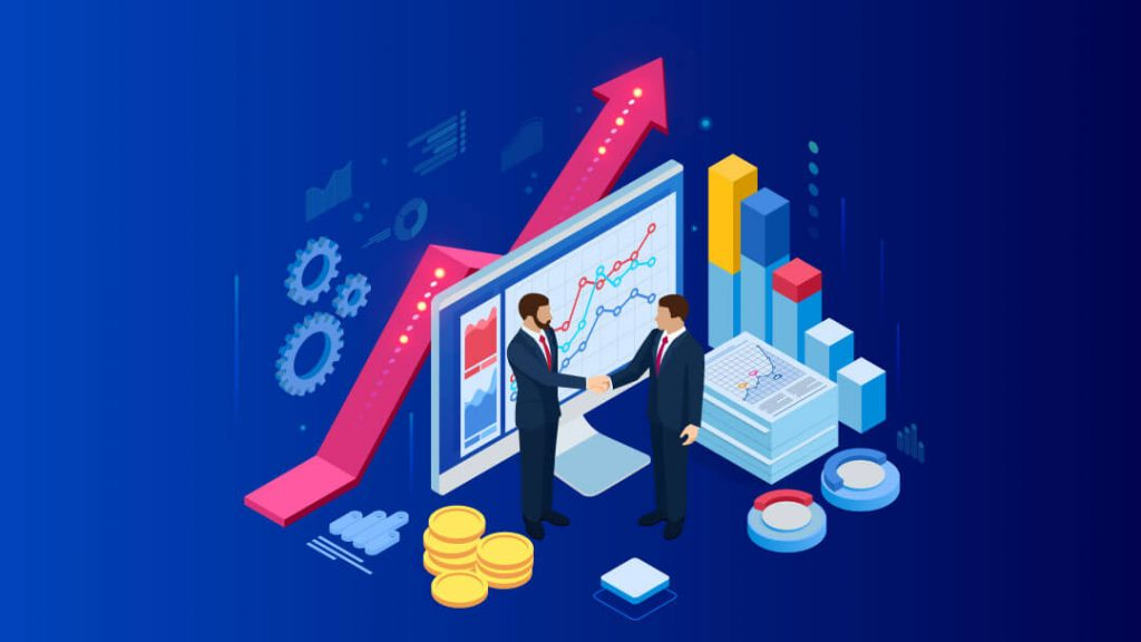 Isometric Successful business collaboration. Businessmen shaking hands. B2B.