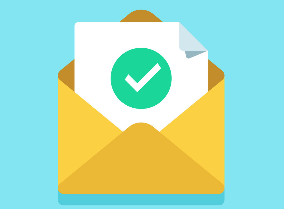 Check mark document in mail envelope. Approved tick marker, confirm accepted or checked on acceptance letter verify sending. Confirmation email message, verified emails mailer send flat vector icon